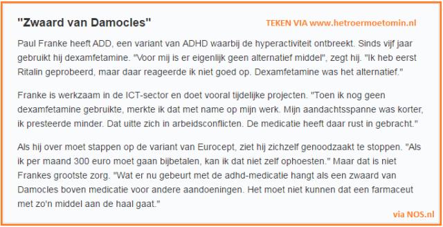 Blog Apotherkers - Dexamfetamine voorbeeld ADD client - NOS - Petitie Het Roer Moet OM